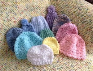 Classic pastels are both knit and crocheted.