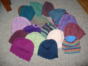 A few of the 33 Chemo Caps we received.