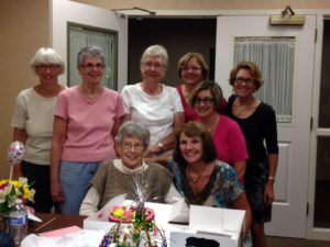 Joy, Marilyn, Linda, Vickie, Susan, LuAnn, and Sharon at Lenore's 95th birthday